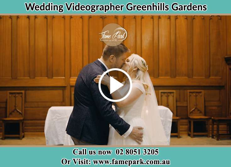 The newlyweds kissing Greenhills Gardens NSW 2323