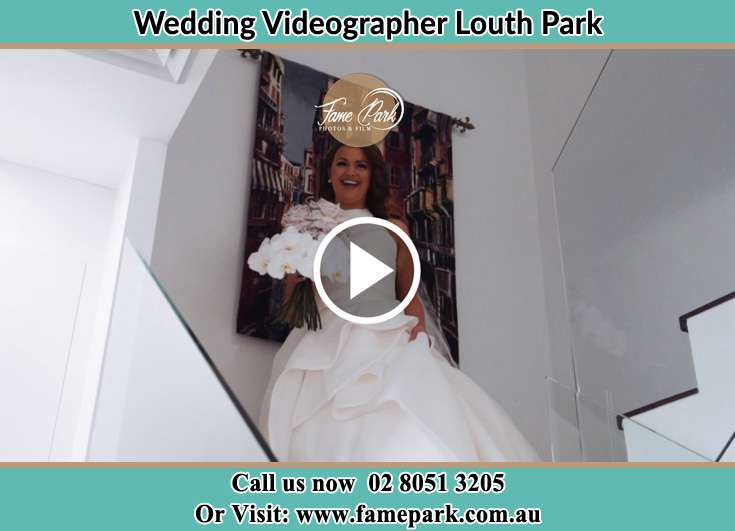 The Bride walking downstairs Louth Park NSW 2320