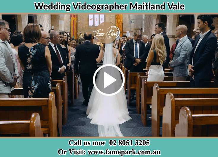 The Bride walking down the aisle with her father Maitland Vale NSW 2320