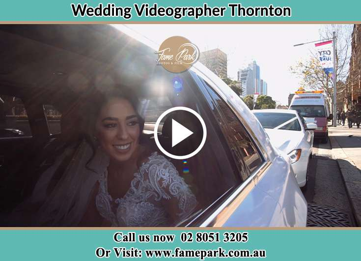The Bride smiling inside the wedding car Thornton NSW 2322